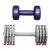 dumbbells under the light background