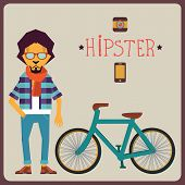 Concept of hipster with bicycle