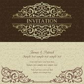 Baroque invitation, brown and beige