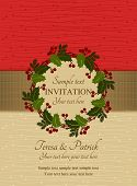 Christmas invitation, red and beige