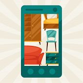 Illustration with mobile phone and furniture in retro style.
