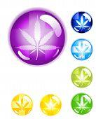 Medical Marijuana Leaf Buttons