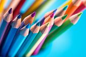 Multicolor Pencils On Blue Background
