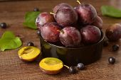 Organic fresh plums