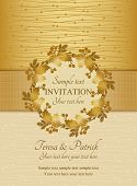 Christmas invitation, gold and beige