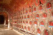 Buddha Inside At Wall Pagoda Of Nyan Shwe Kgua Temple In Myanmar.
