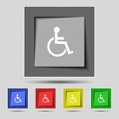 Постер, плакат: Disabled sign icon Human on wheelchair symbol Handicapped invalid sign Set colourful buttons Vect