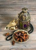 Dates, Arabian Lantern And Rosary. Islamic Holidays