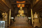 Golden Buddha Inside At Wood Church Of Nyan Shwe Kgua Temple In Myanmar.