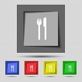 Eat sign icon. Cutlery symbol. Fork and knife. Set colourful buttons Vector