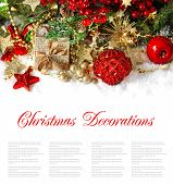 Christmas Composition With Red Baubles, Golden Decorations, Gifts