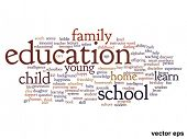 Vector eps concept or conceptual education abstract word cloud on white background