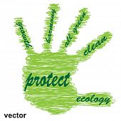 Vector conceptual abstract green ecology, conservation word cloud text in man handprint on white background as sketch or scribble