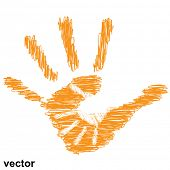 Vector concept or conceptual cute drawing orange paint hands of mother and child isolated on white b