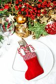 Festive Table Place Setting With Christmas Tree Decoration