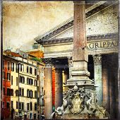 great antique Rome, Pantheon - vintage cards series