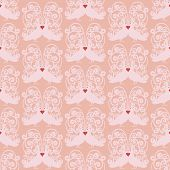 Doves heart kissing pattern vector seamless background