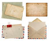 Air Mail Envelope And Aged Postcards Isolated On White Background
