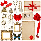 Paper Sheets With Vintage Accessories Isolated On White. Scrapbook Elements