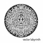 Mandala labyrinth abstract ornament. Find the way. Isolated on white