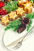 Christmas Table Place Setting Decoration In Gold, Red, Green