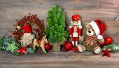 Christmas Decoration With Toys Teddy Bear And Nutcracker