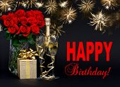 Red Roses, Bottle Of Champagne, Golden Gift With Beautiful Fireworks