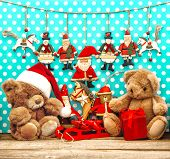 Christmas Decorations With Vintage Toys And Teddy Bear