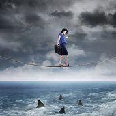 Businesswoman Walk Above Ocean