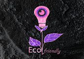 Eco friendly light bulb plant growing green and  eco energy concept idea on wall texture background