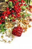 Christmas Decoration With Red Baubles, Red And Golden Garlands