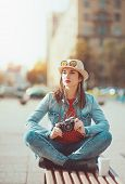 Hipster Girl With Sunglasses