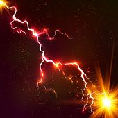 stock photo of lightning  - Red shining cosmic light plasma vector lightning - JPG