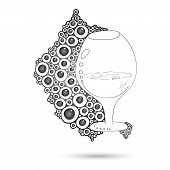 Wine Glass On The Doodle Circular Pattern Isolated