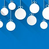 Blue winter abstract background with flat paper christmas balls. Vector illustration.