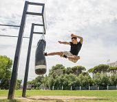 stock photo of parkour  - concept about martial art and crossfit - JPG