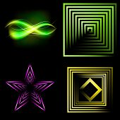 Set  of colorful  abstract background with blurred magic neon light curved lines. Vector