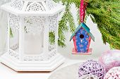 Christmas toy birdhouses and other decorations