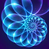picture of cosmic  - Blue abstract vector fractal shining cosmic spiral - JPG