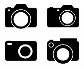 Photography Camera Black Vector Silhouettes Illustration