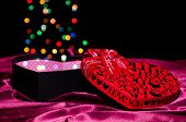 Gift Box Shaped Heart With Colored Colored Dots Bokeh