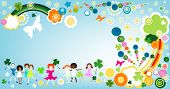 kids enjoying springtime; illustration