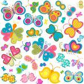 colorful butterflies set; illustration