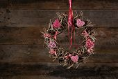 Decorated Christmas Wreath Red White Cloth Hearts Old Rustic Background