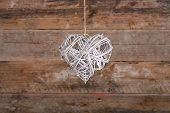 Heart Shape Christmas Wreath White Twigs On Old Rustic Background