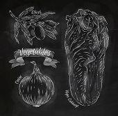 Vegetables Onion, Napa Cabbage, Olives Chalk