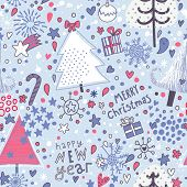 Stylish cartoon seamless pattern. Christmas background in vector