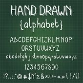 handwritten alphabet on green slate