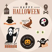 Set Of Halloween Party Decoration Design Elements. Vector Illustration.