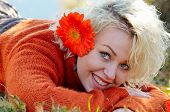 young beautiful woman portrait outdoor in autumn
